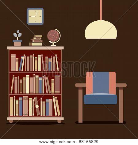 Modern Design Interior Sofa And Bookcase.