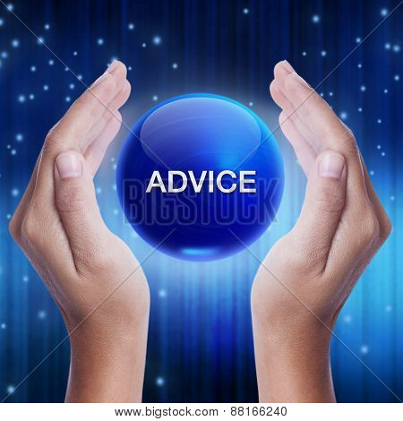 Hand showing blue crystal ball with advice word.