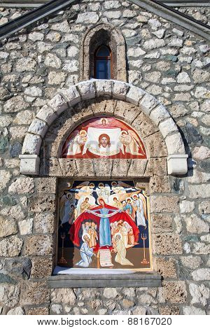 Religious Painting On Facade Of The Templar Church In Bran, Romania