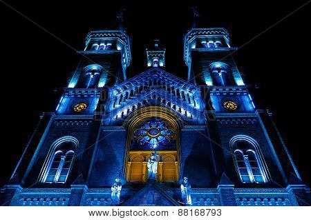 Various Night Lighting Of The Cathedral Millenium From Timisoara, Romania