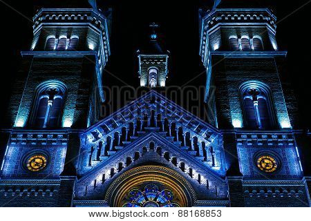 Various Night Lighting Of The Cathedral Millenium From Timisoara, Romania 3