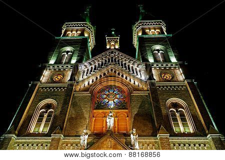 Various Night Lighting Of The Cathedral Millenium From Timisoara, Romania 2