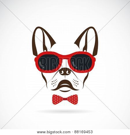 Vector Images Of Dog (bulldog) Wearing Sunglasses On White Background.