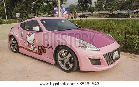 Loei - March 2: Nissan 370Z Sport Car, Hello Kitty Edition, On Display At The 2Nd Thailand Internati