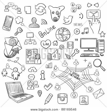Hand drawn vector illustration set of social media