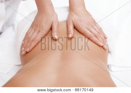 Woman gets back massage