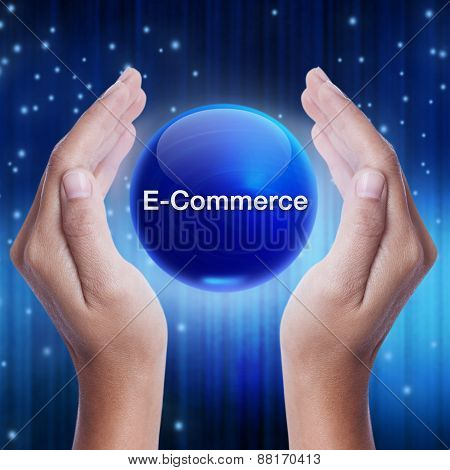 Hand showing blue crystal ball with e-commerce word.