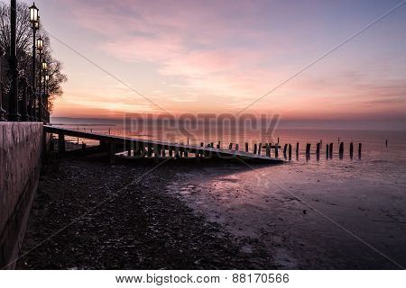 sunset on the old pier
