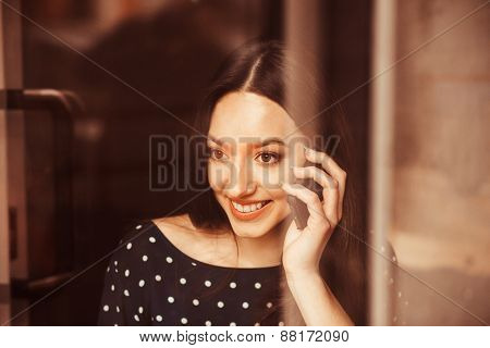 Beautiful Girl Works With  Technologise On The Phone