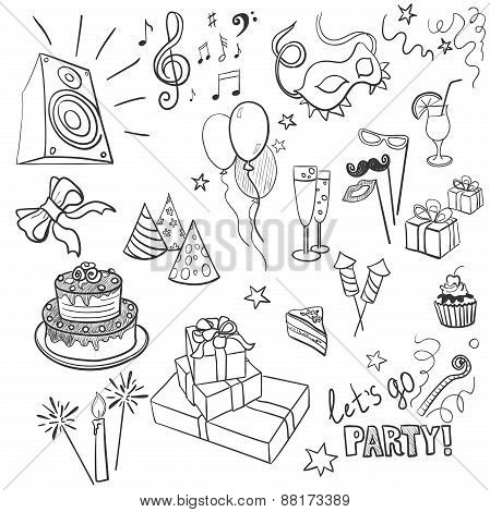 set of sketch party objects hand-drawn