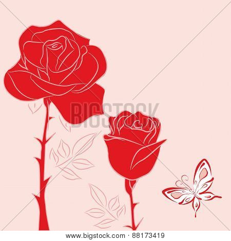 Red  Rose And Red Butterfly 2