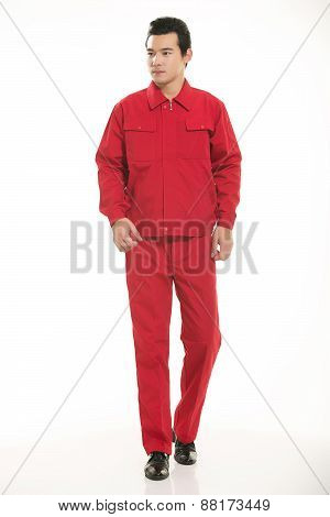 The young engineer various occupation clothing standing in front of a white background