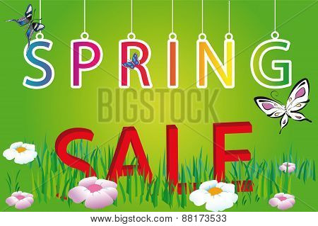 Letter Spring Sale On Green Background