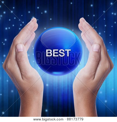 Hand showing blue crystal ball with best word.