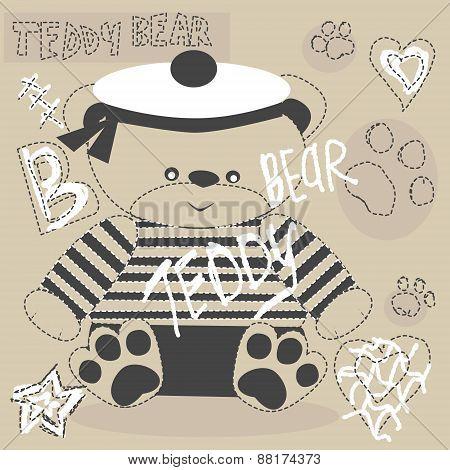 Vector Cute Teddy Bear With Paw