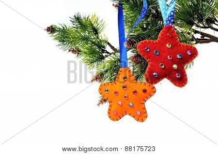 Christmas Decorations On A Christmas Tree Star Handmade Fleece