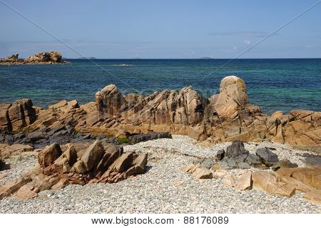 Stones at Pink Granit Coast in Bretagne, France ** Note: Soft Focus at 100%, best at smaller sizes