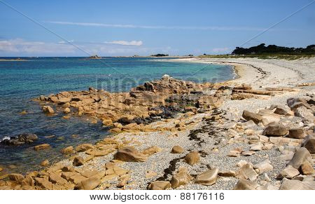 Beach at Pink Granite Coast in Bretagne, France ** Note: Soft Focus at 100%, best at smaller sizes