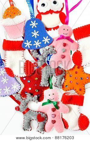 Texture Of Christmas Toys, Handmade Fleece. Beautiful Christmas Background