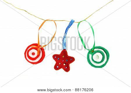 Garland Of Christmas Handmade Toys. Handmade Christmas Decorations Made. Of Felt Hanging On A Rope