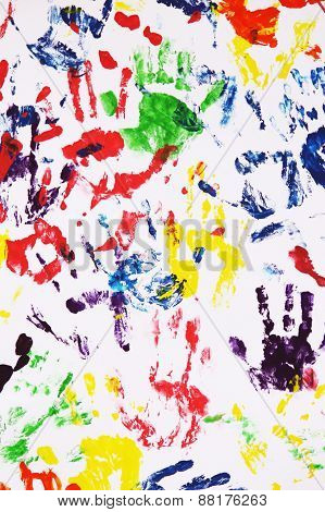 Colorful Handprints On The White Background