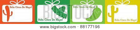 Mexican Cut Out Tag Collection In Vector Format.