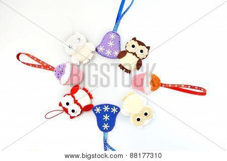 Christmas Ornament Background Of Handmade Toys Fleece And Felt