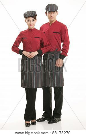 Wear all sorts of apron waiter standing in white background