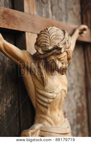 Patience Of Jesus Christ On The Cross (wooden Statue)