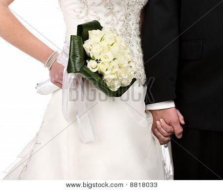 Braut Bräutigam Hand hält