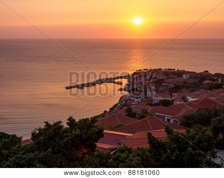 Molyvos By Sunset