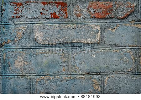 Detail  Close Up Of An Old Uneven Brick Wall.