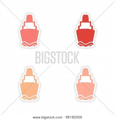 assembly realistic sticker design on paper lighthouses