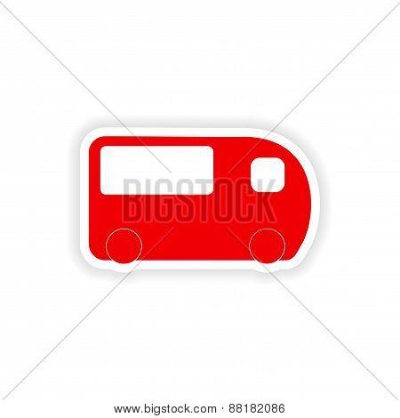 icon sticker realistic design on paper bus