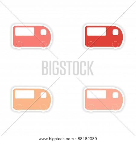 assembly realistic sticker design on paper bus transportation