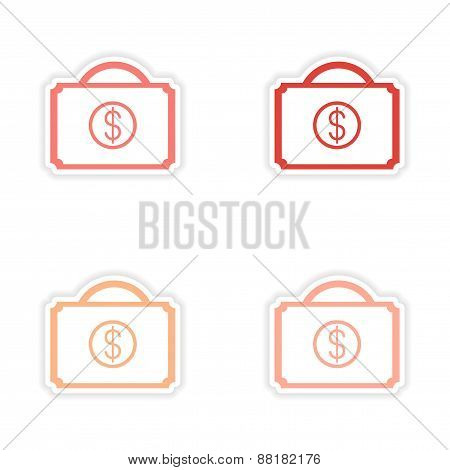 assembly realistic sticker design on paper cases money