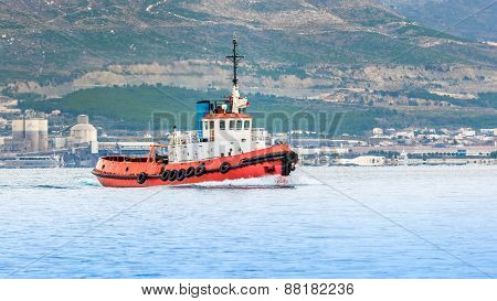 Red Tugboat On A Sea