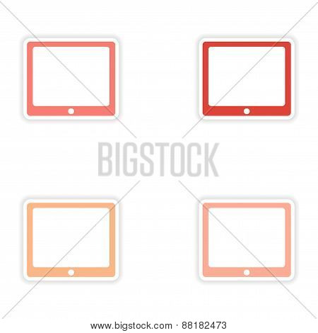 assembly realistic sticker design on paper tablet