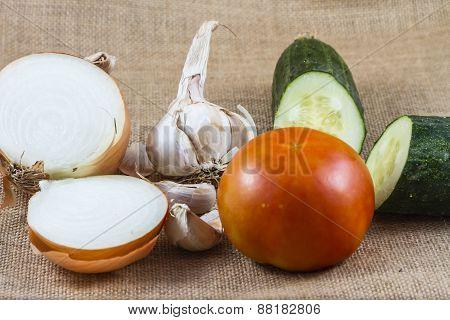tomato, onion, garlic and cucumber