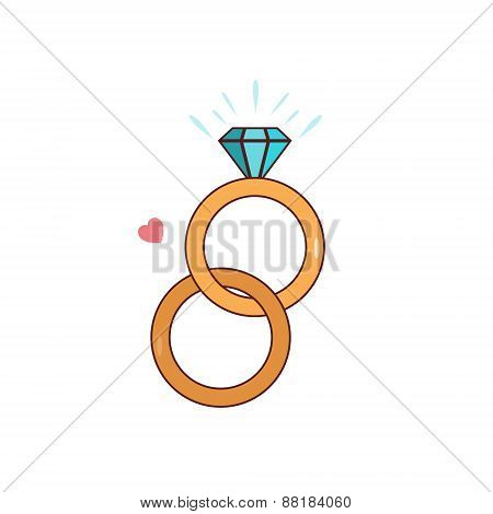 Isolated cartoon diamond wedding ring
