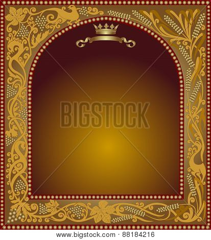 Slavonik Frame Witn Grapes And Grain Wine And Beer Icon