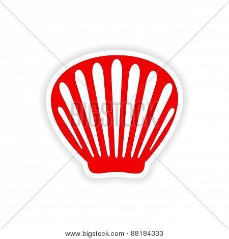 icon sticker realistic design on paper shell