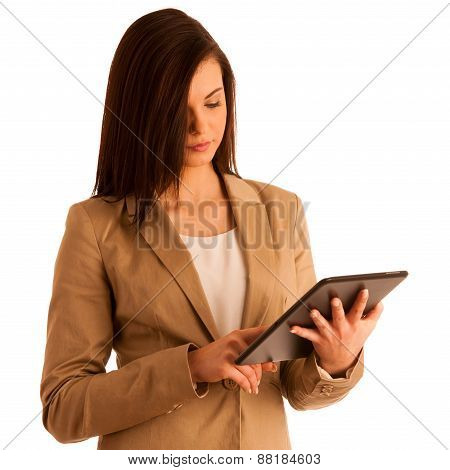 Business Woman Holding A Tablet Computer - Isolated Over A White Background