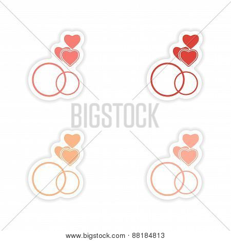 assembly realistic sticker design on paper hearts rings