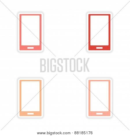 assembly realistic sticker design on paper mobile phone