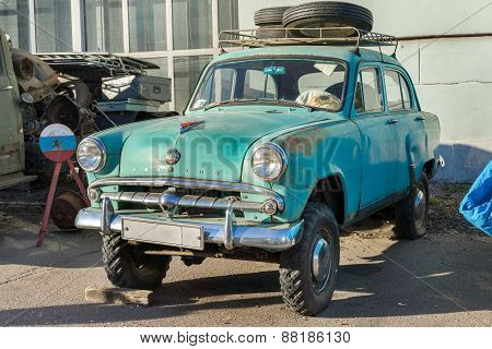 Moscow, Russia - April 11: Old Rusty Soviet Vehicle Moskvitch 403 Parked On The Street On April 11,