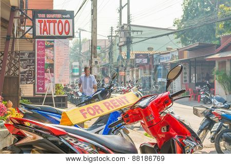 Image Of Unidentified Motorcycle For Rent And Tourists In Chiang Mai City
