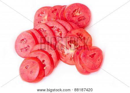 Fresh Tomato Slices Isolated On White