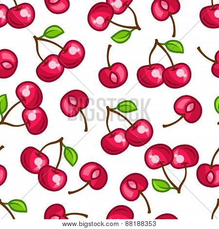 Seamless pattern with stylized fresh ripe cherries