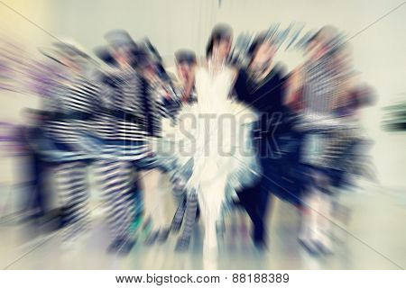 Abstract Background - Fashion Models On Catwalk - Radial Zoom Blur Effect Defocusing Filter Applied,